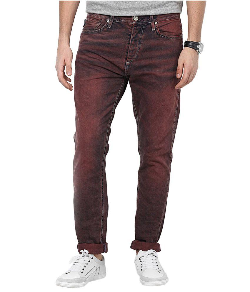 Jack & Jones Maroon Anti Fit Jeans