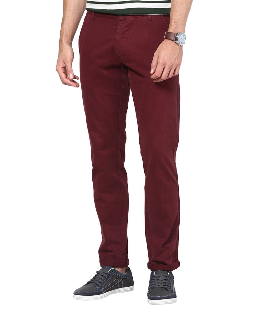 Jack & Jones Maroon Slim Fit Trousers