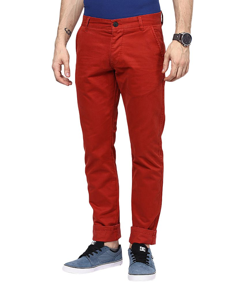 Jack & Jones Red Slim Fit Trousers