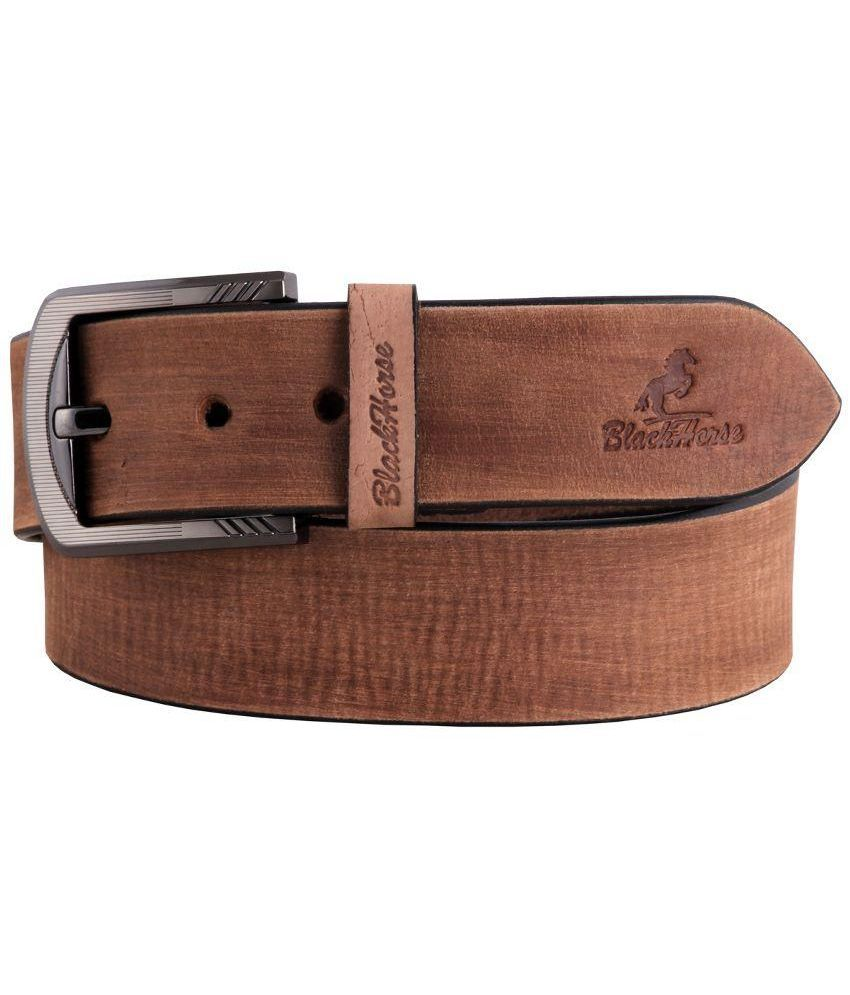 Black Horse Brown Leather Belt for Men