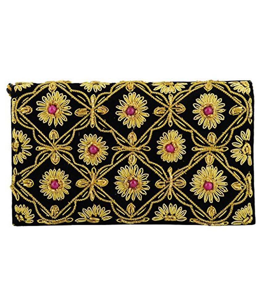Duchess Black Fabric Clutch
