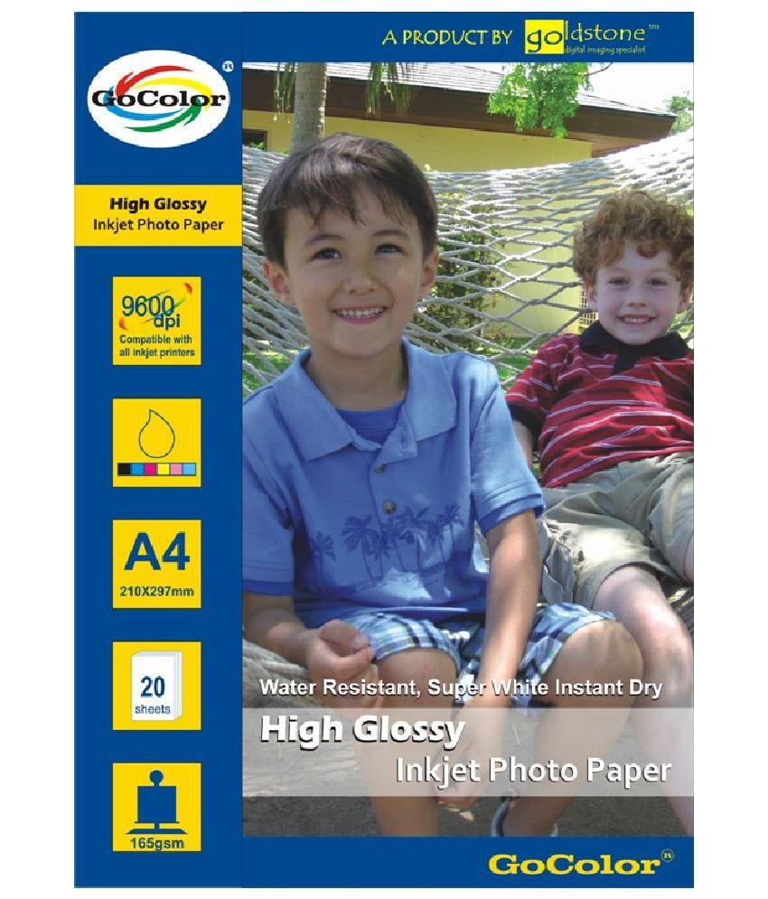 Gocolor High Glossy Inkjet Photo Paper 165 GSM 40 Sheets A4 Size