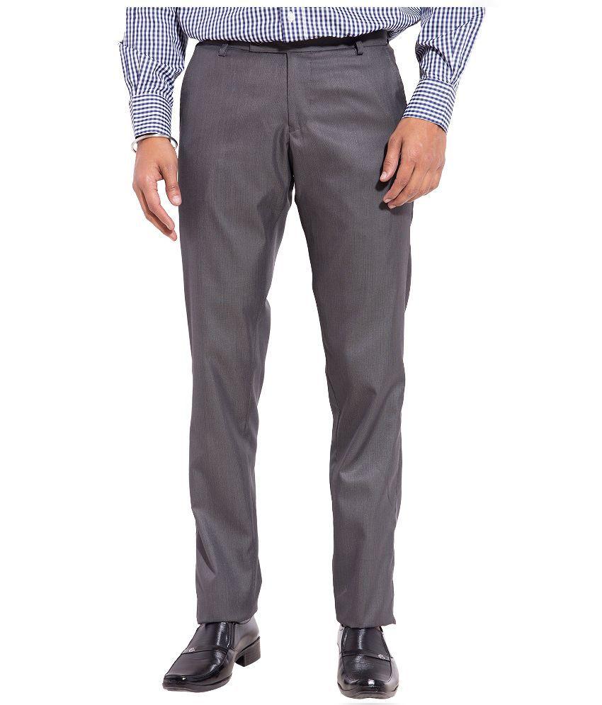 Truso Grey Slim Fit Flat Trousers