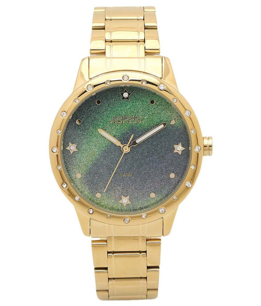 Aspen Women's Golden Color Metal Analog Watches