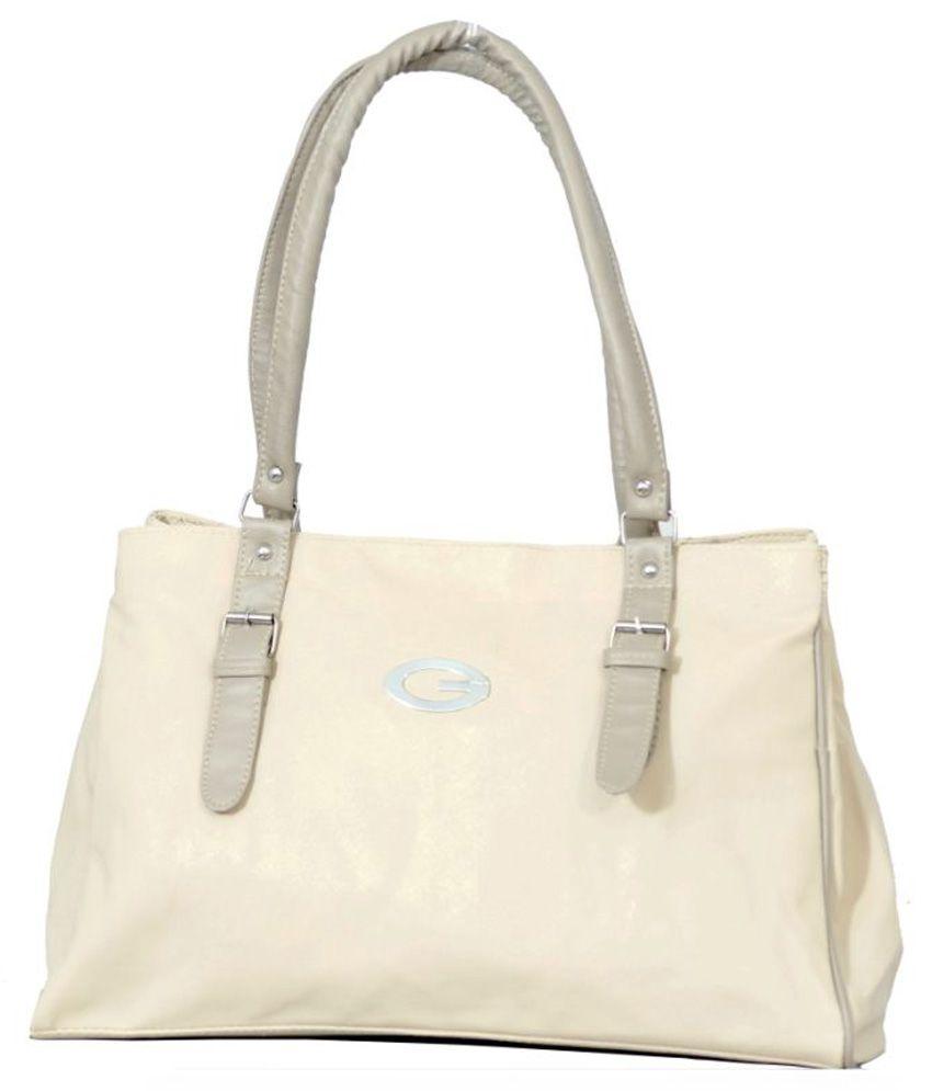 Clementine Beige P.U. Shoulder Bag