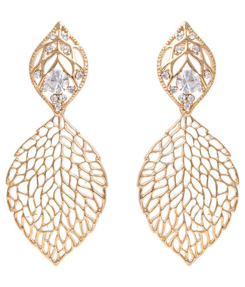 Dadu Diamonds Pretty Crystal Rose Gold Hanging Earrings
