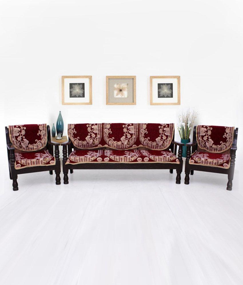 Stupendous Elegance Red Velvet Sofa Cover Set Of 6 Pabps2019 Chair Design Images Pabps2019Com