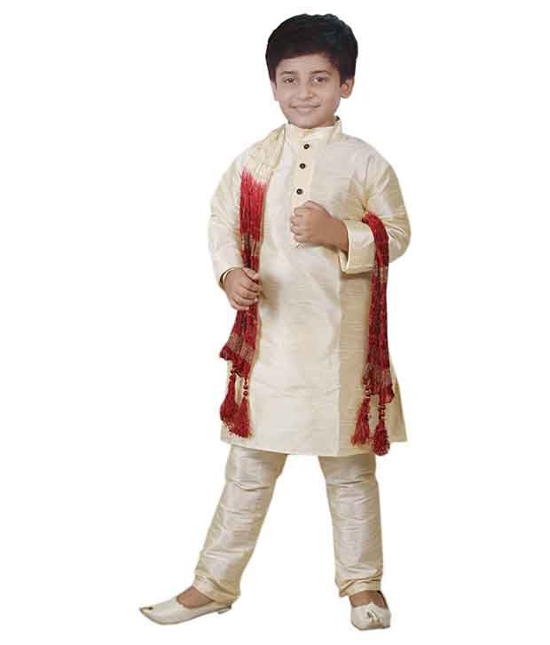 JBN Creation Gold Raw Silk Kurta Pyajama With Matching Dupatta