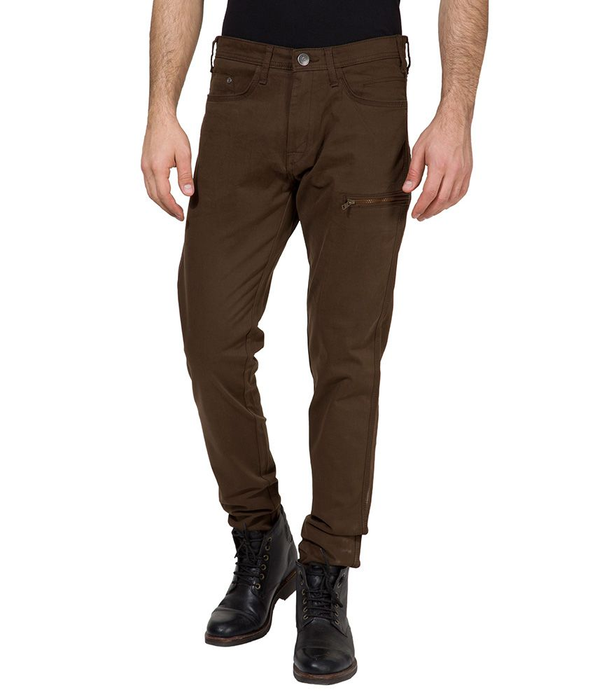 Locomotive Brown Slim Fit Trousers