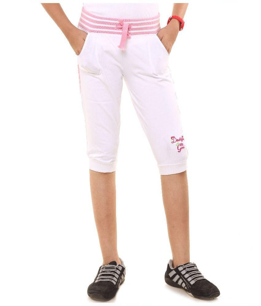 Menthol White Cotton Capris