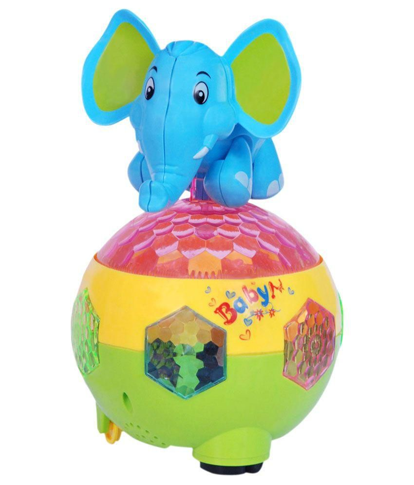 ONCE MORE ENTERPRISE ONCE MORE ENTERPRISE Multicolour Plastic Musical Ball And Elephant Toy