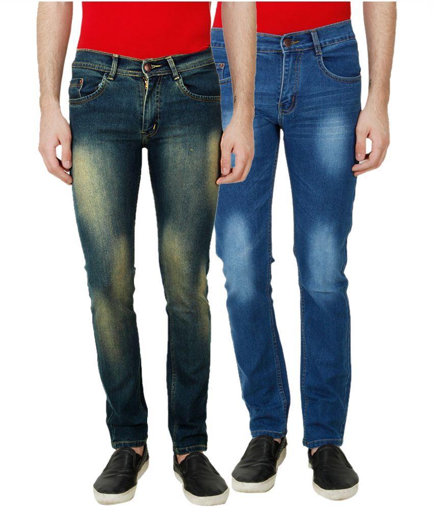 Ansh Fashion Wear Blue Slim Fit Faded Jeans