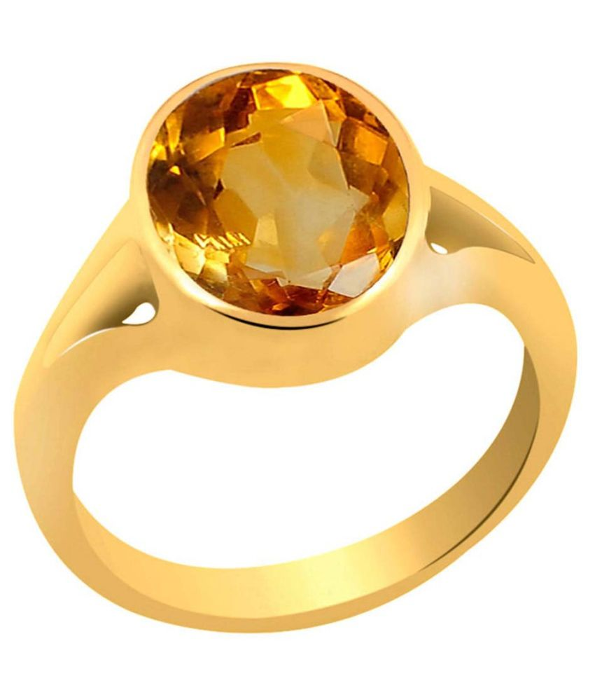 Clara 5.5 carat or 6.25ratti Panchdhatu Gold Plating Citrine Astrological Ring