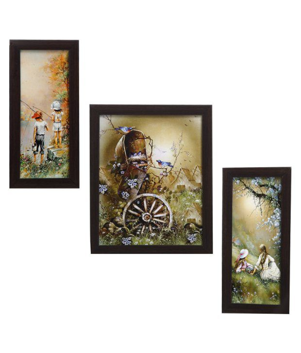 Indianara 3 Piece Set Of Framed Wall Art - Picturesque Countryside