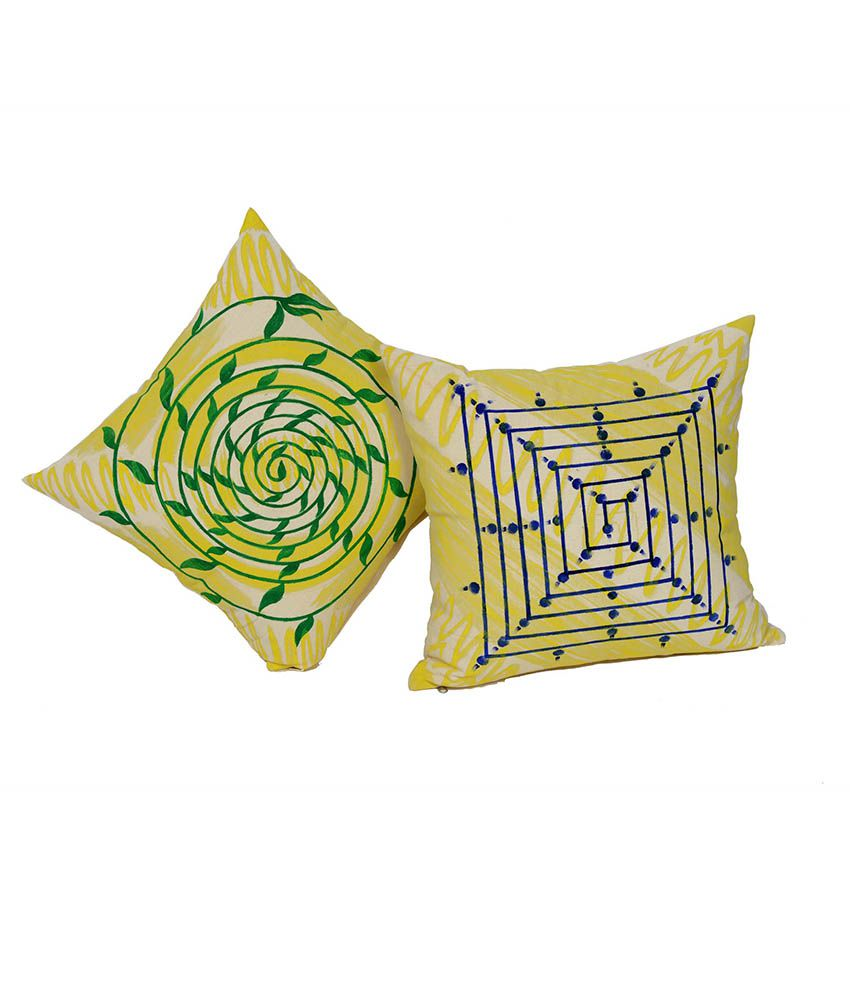 Krishna Art & Craft Yellow Cotton Cushion Cover - Set of 2