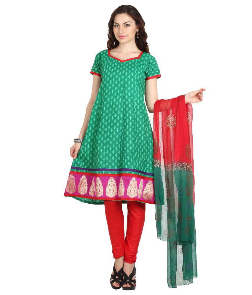 Parchayee Green Cotton Straight Unstitched Dress Material