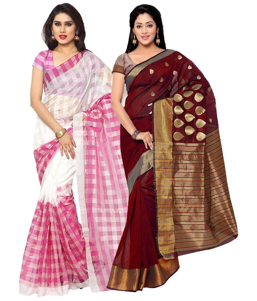 Prachi Silk Mills Multicoloured Cotton Silk Saree Combos