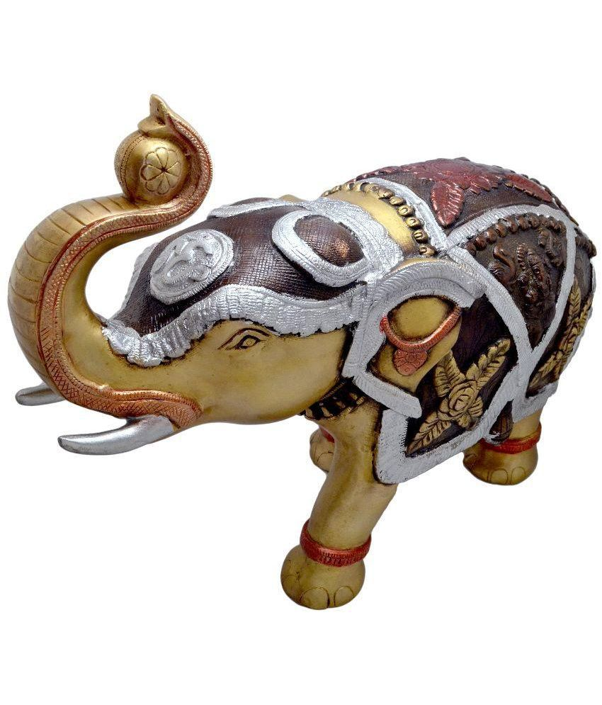 Two Moustaches Brass Elephant 15 Inches Showpiece