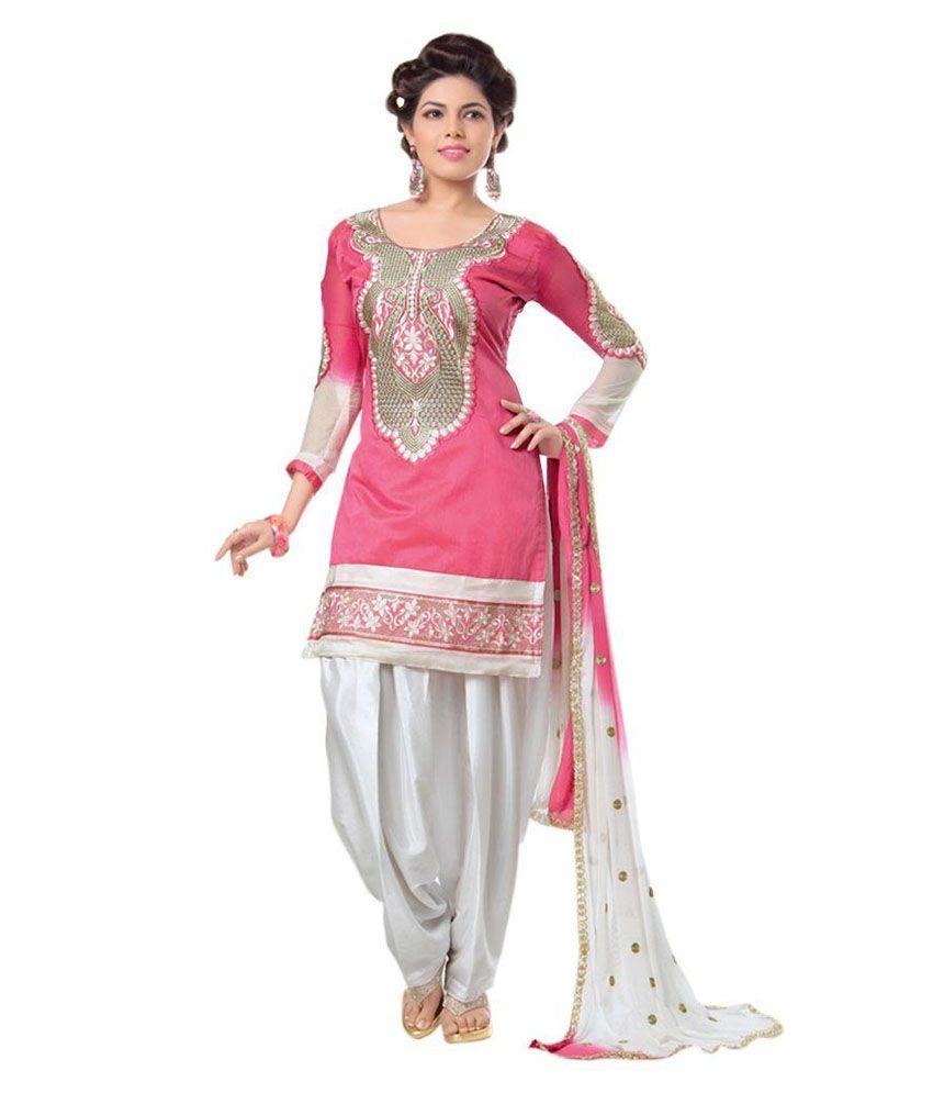 Zombom Pink and Grey Chanderi Dress Material