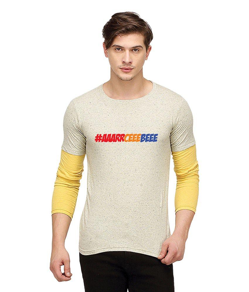 Campus Sutra Off-White Round T Shirt