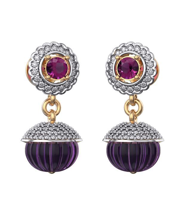 I Love Diamonds 18kt Gold Garnet Drop Earrings