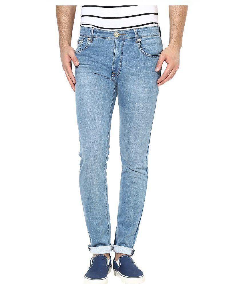 MCJ Jeans Blue Regular Fit Faded Jeans