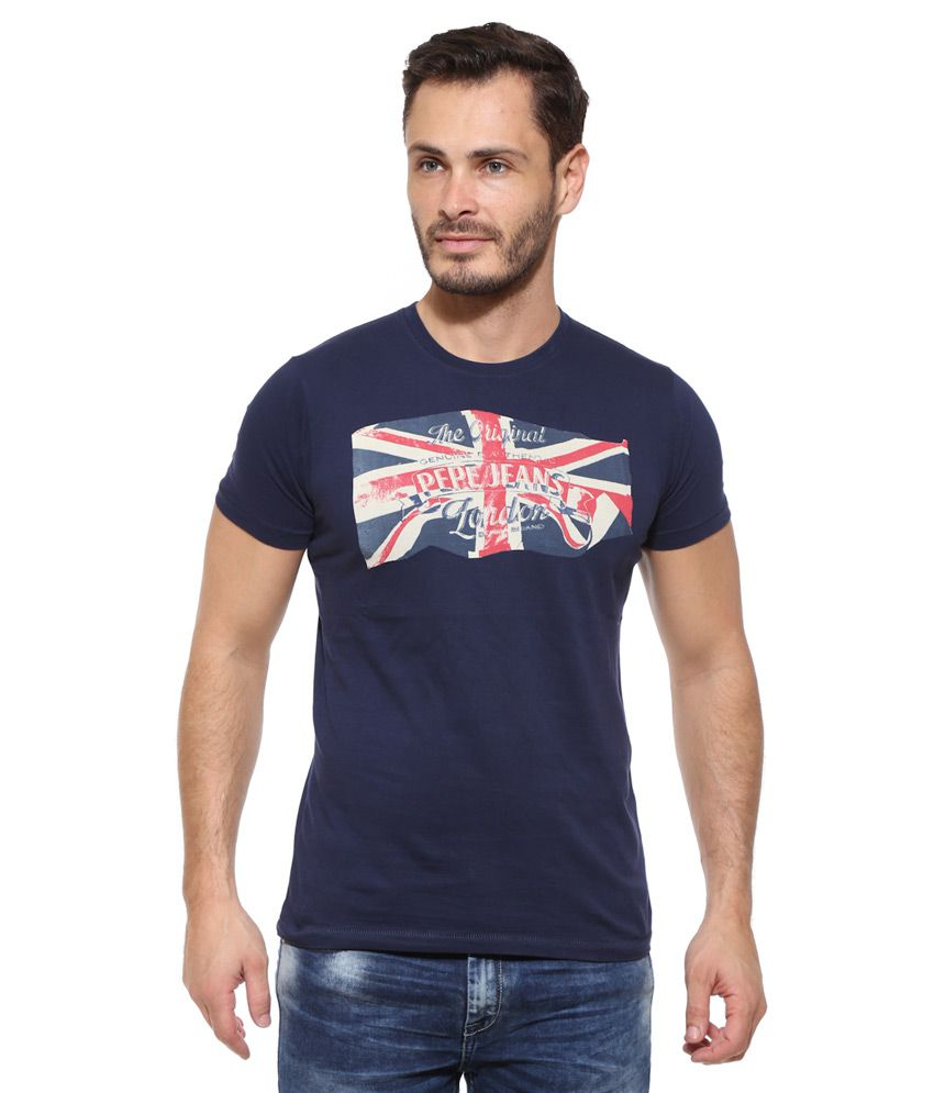 Pepe jeans navy printed t shirt buy pepe jeans navy for Online printed t shirts