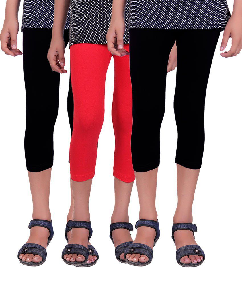 Alisha Black and Red Cotton Lycra Capris (Pack of 3)