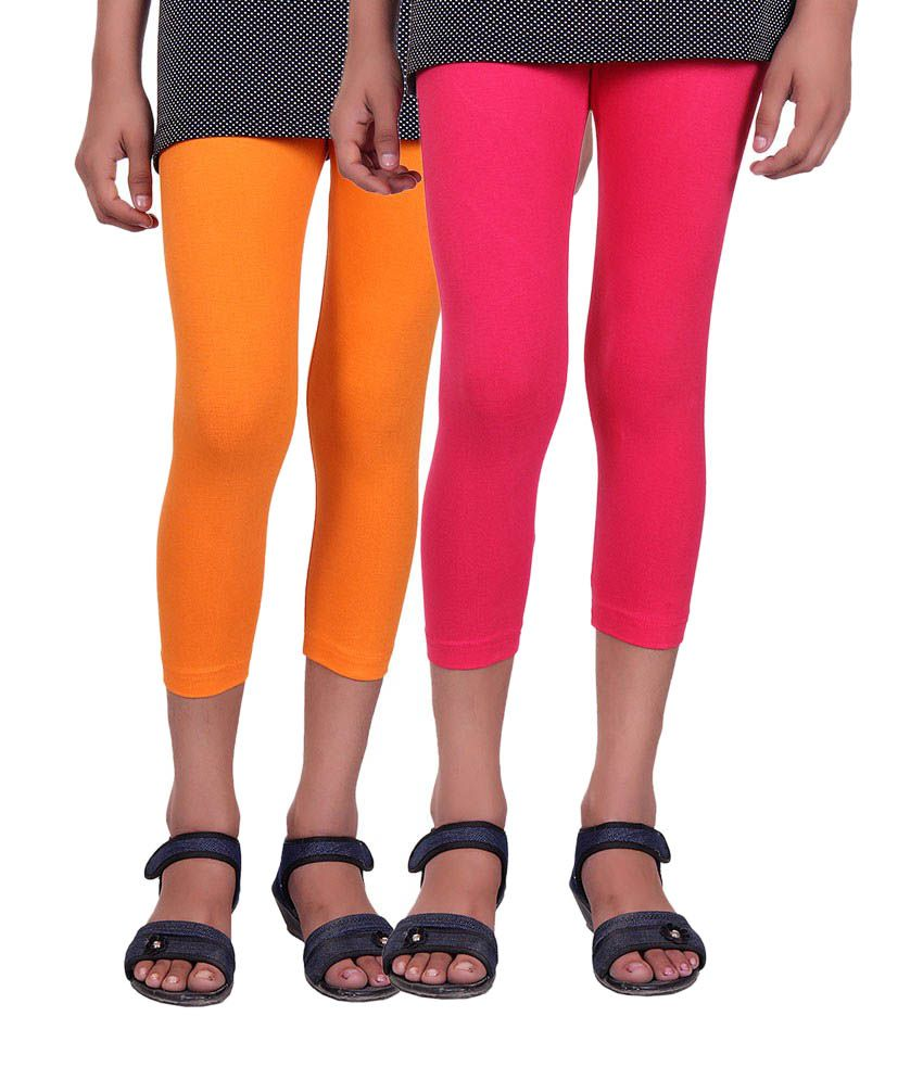 Alisha Orange and Pink Cotton Capris (Pack of 2)