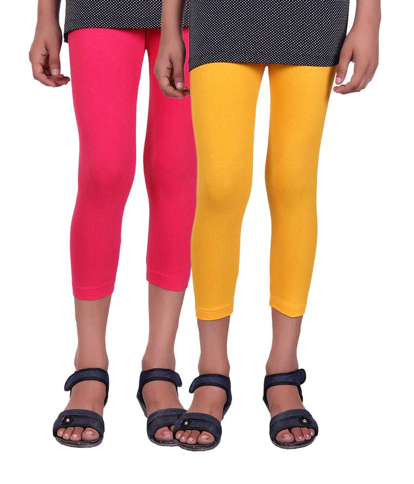 Alisha Pink and Yellow Cotton Capris (Pack of 2)