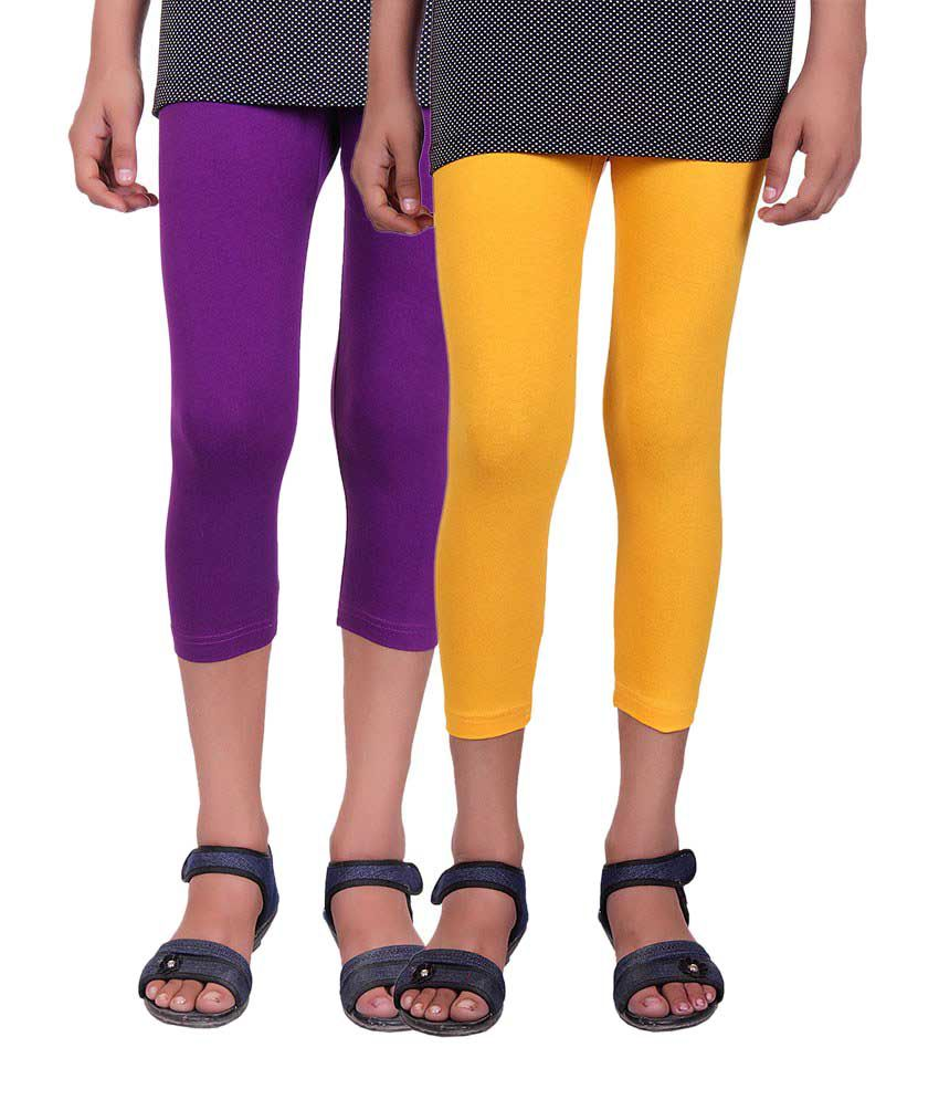 Alisha Purple and Yellow Cotton Capris (Pack of 2)