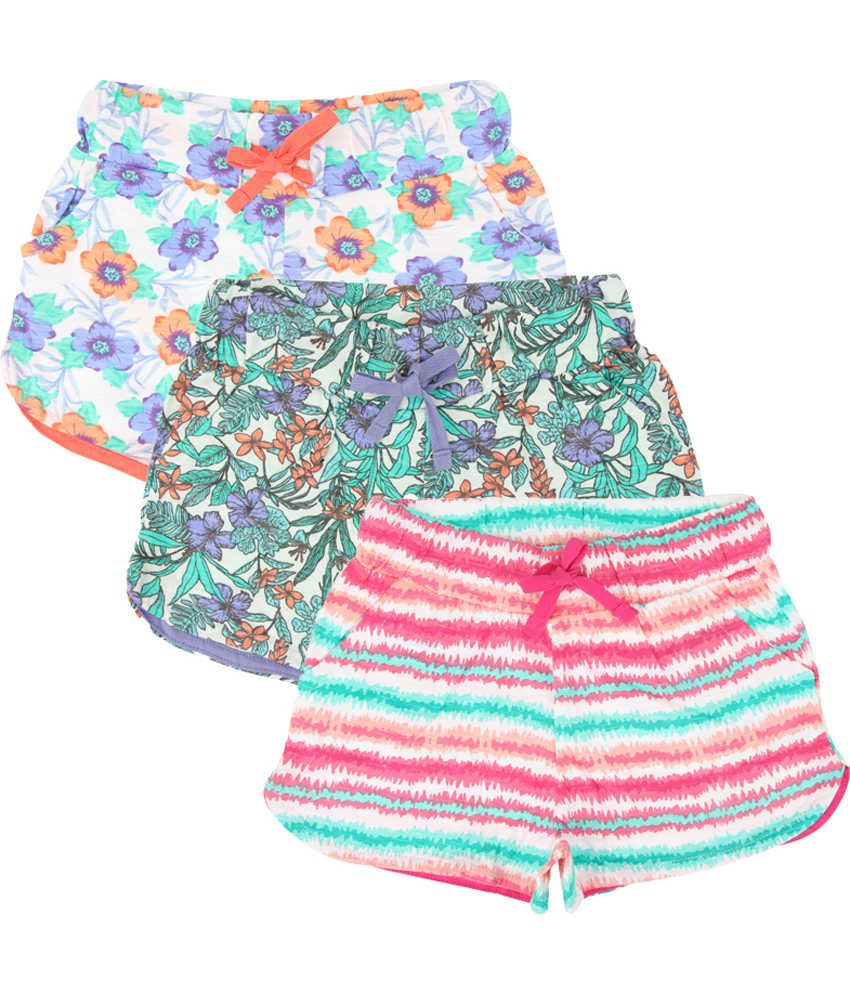 Eimoie Multicolour Cotton Shorts - Pack of 3