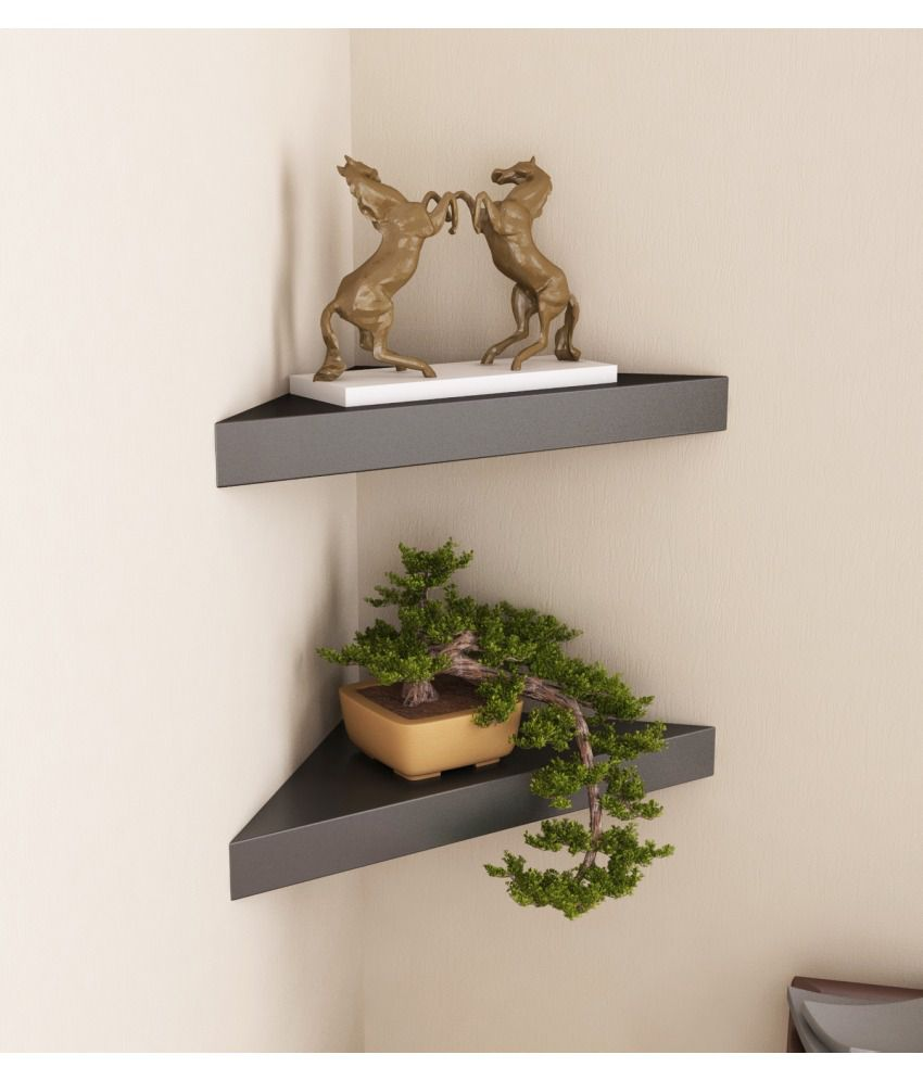 Home Sparkle Black Wooden Corner Wall Shelves Set Of 2