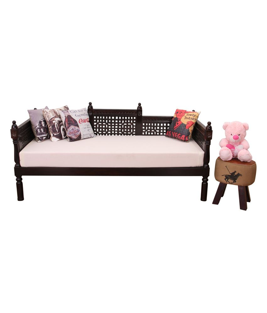 Induscraft ziyo wooden sofa cum diwan with mattress buy for Diwan mattress