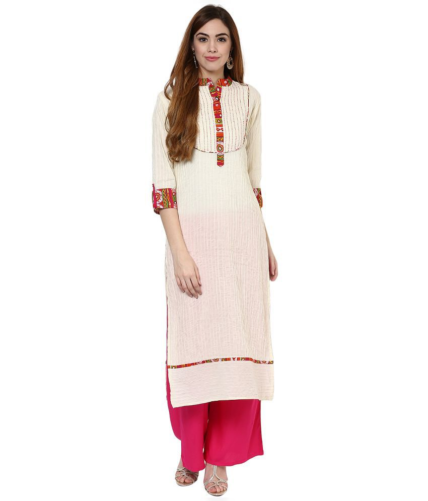 Jaipur Kurti Off White Cotton Kurti with Palazzo