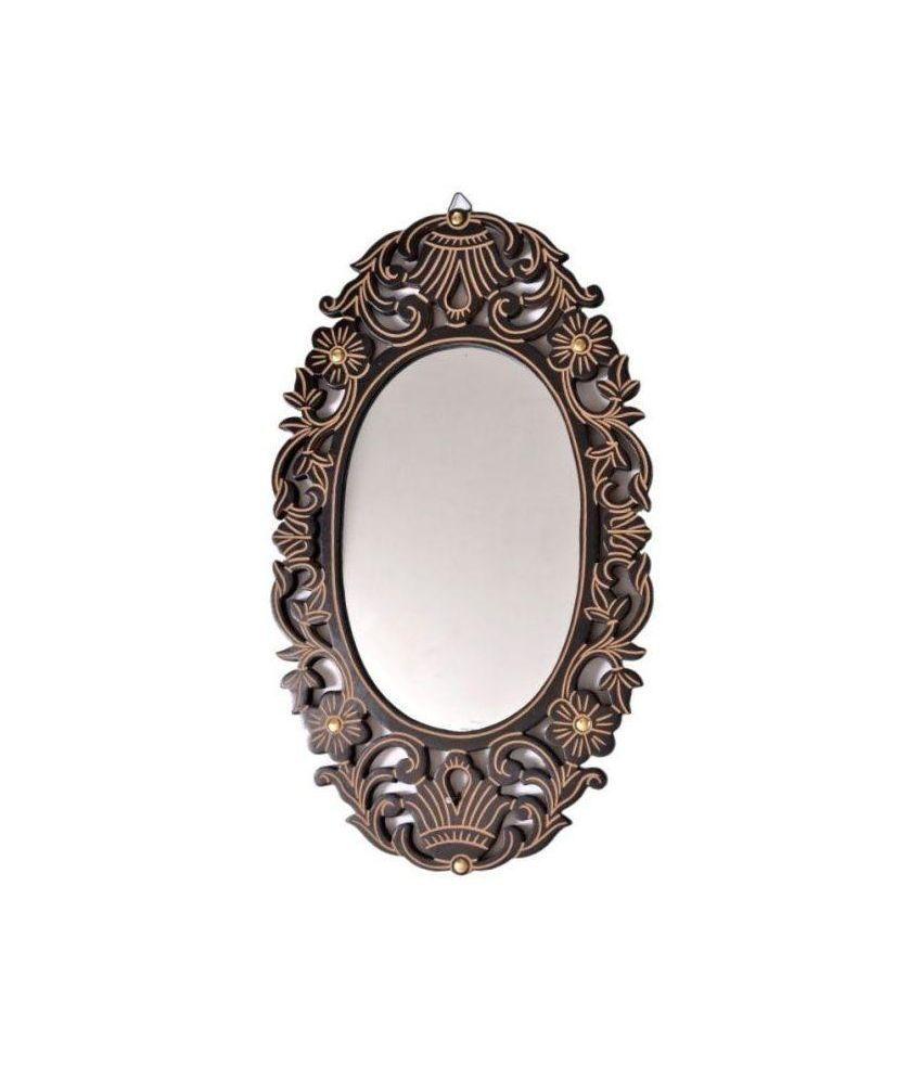Onlineshoppee Brown Wooden Antique with Handicraft Work Fancy Design Mirror Frame