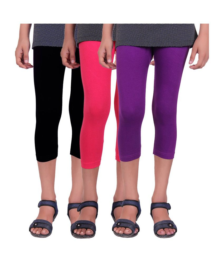 Alisha Cotton Lycra Kids Capris - Pack of 3