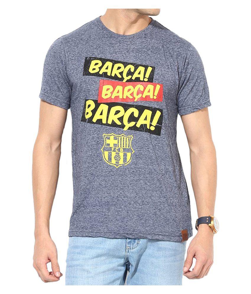 Barcelona T Shirt Mens Barca Trio Round Neck