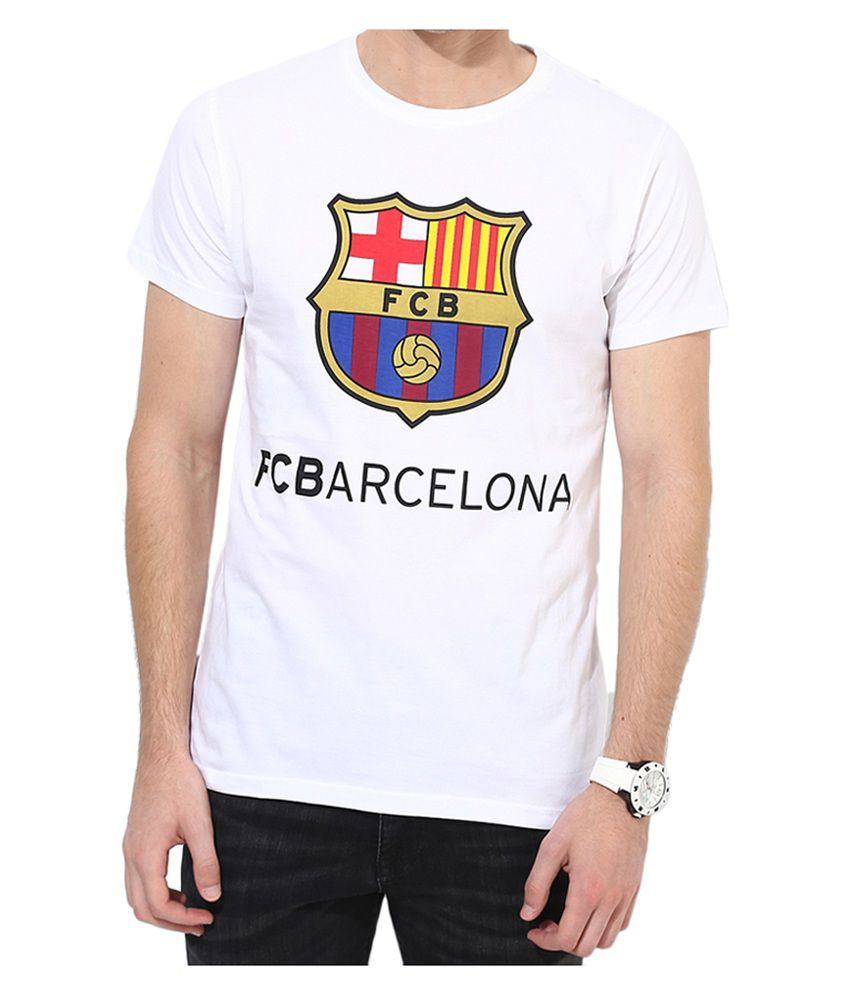 Barcelona T Shirt Mens Core Round Neck