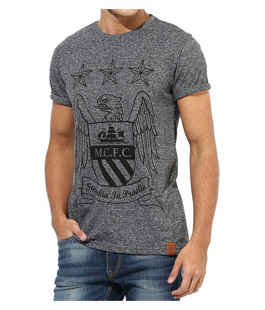 Manchester City F.C. T Shirt Mens Black Crest Round Neck