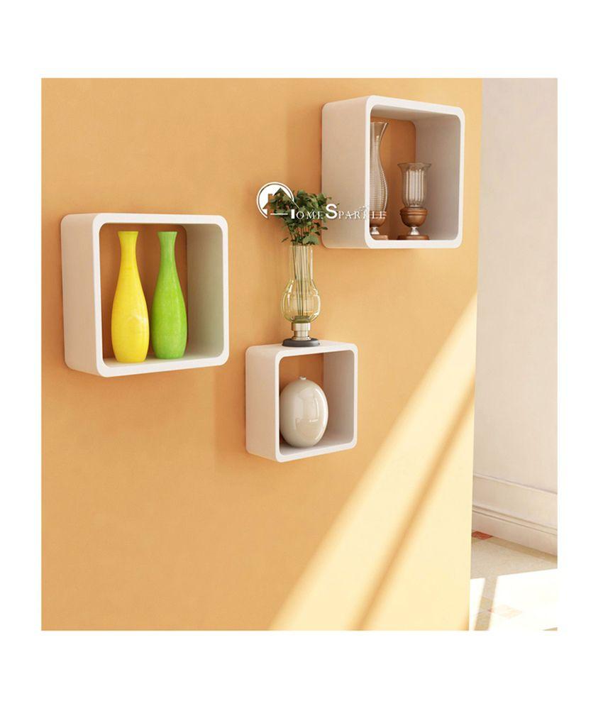 Trendy Ile White Cube Floating Shelf/ Wall Shelf / Book Shelf ...