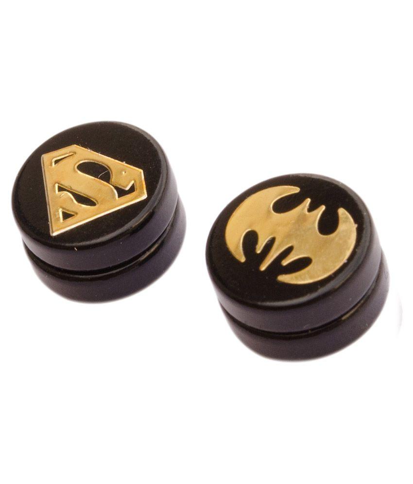 Foppish Mart Pair of Assorted Batman & Superman Gold Black  Circular Magnetic Stud Earrings For Men