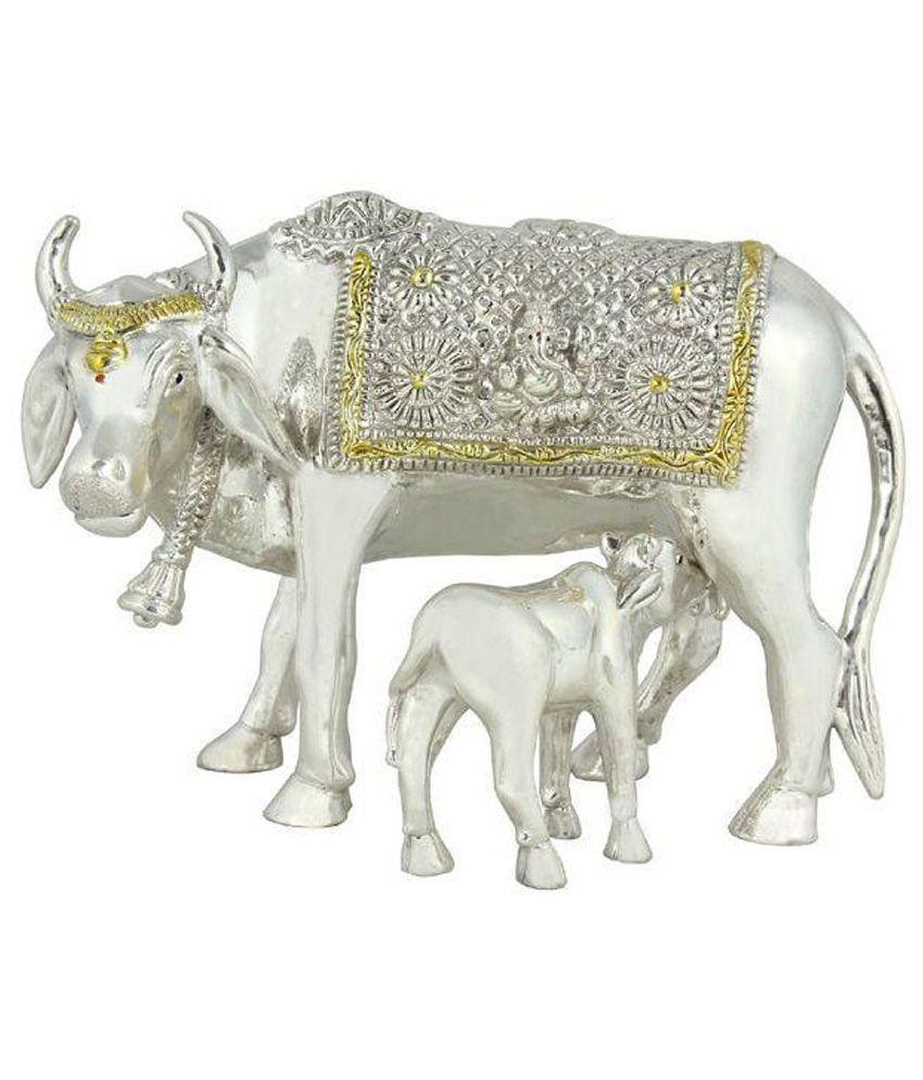 Sogani Jewellers Glossy Silver Cow And Calf Set Nandi Idol