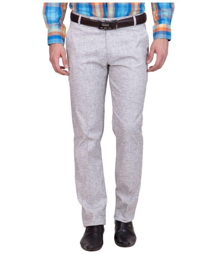 Tiger Grid Grey Slim Fit Flat Trousers Single