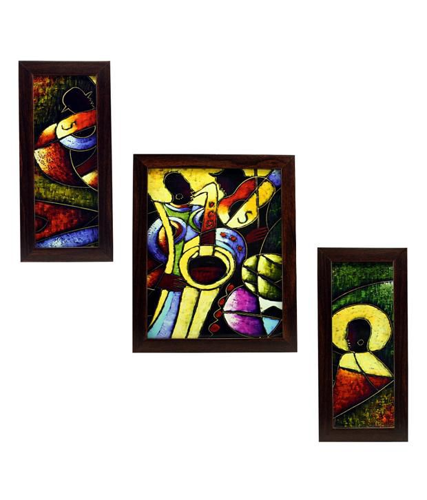 Indianara 3 Piece Set Of Framed Wall Art - Surreal Musical Notes
