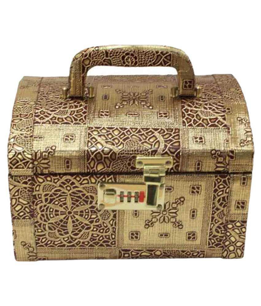 KRG ENTERPRISES Makeup and Jewellery Wooden Vanity Box - Golden