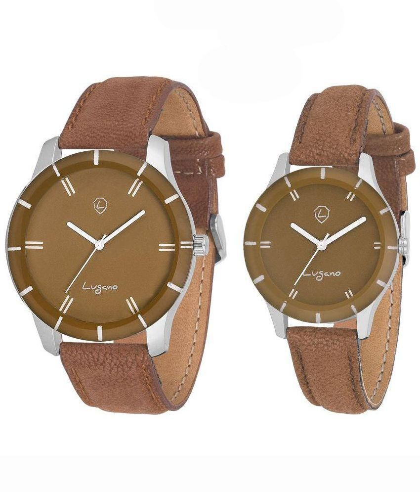 Lugano LG 1048 Brown Leather Analog Couple Watch
