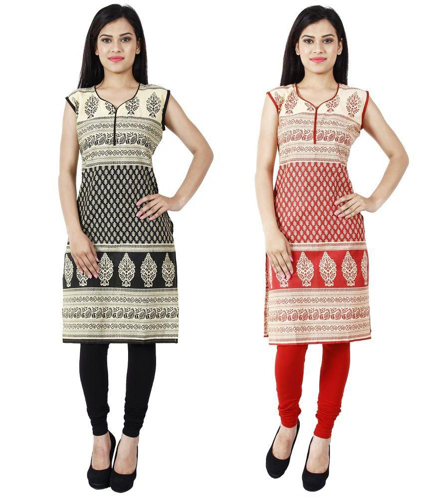 Shop Actual Multicoloured Crepe Straight Kurti