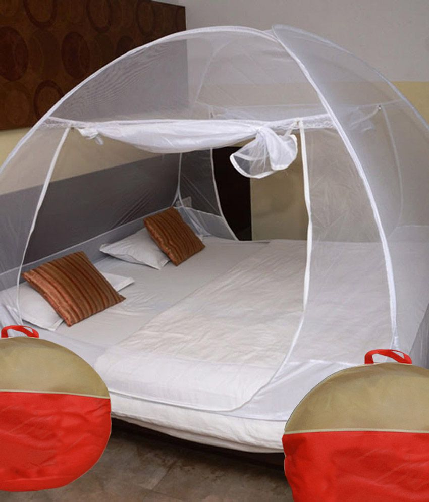 Athena creations double bed foldable mosquito net white for Bed with mosquito net decoration
