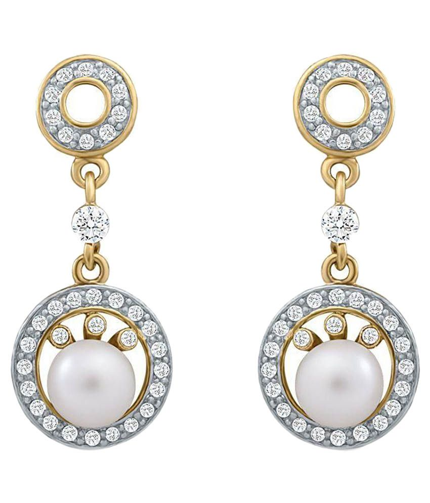 Oviya White and Golden Alloy Hanging Earrings
